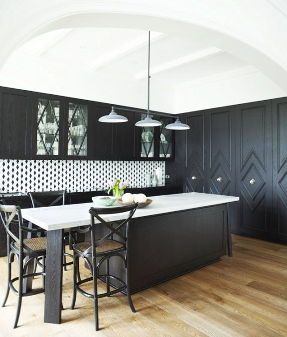black kitchen cabinets wood floors photo - 6