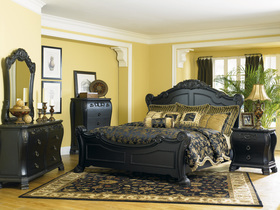 black ornate bedroom furniture photo - 5
