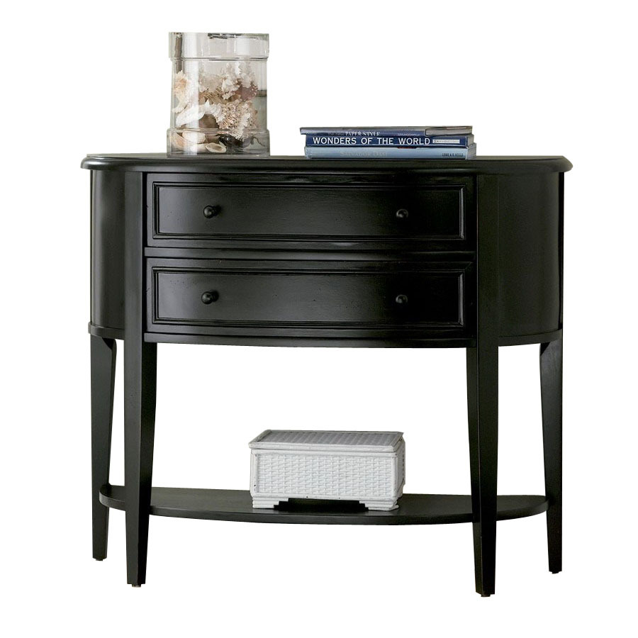 black sofa console table photo - 1