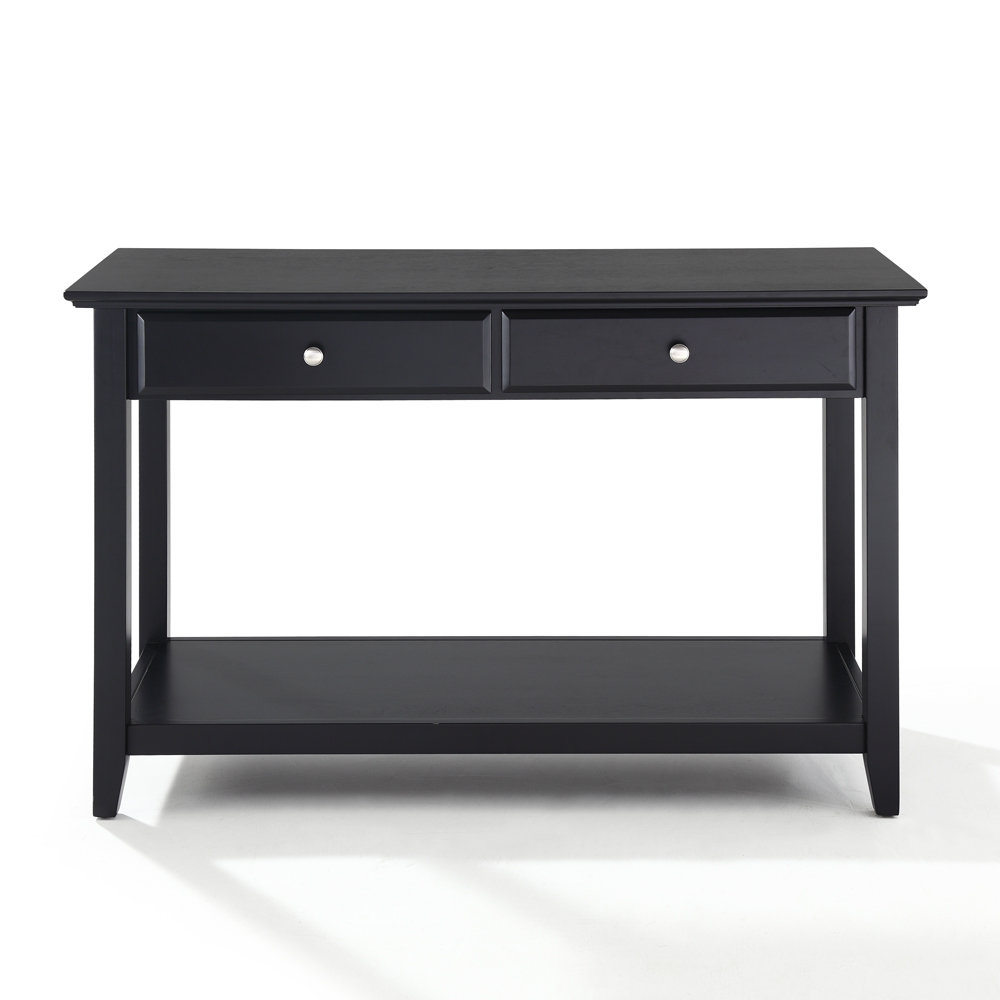 black sofa console table photo - 2
