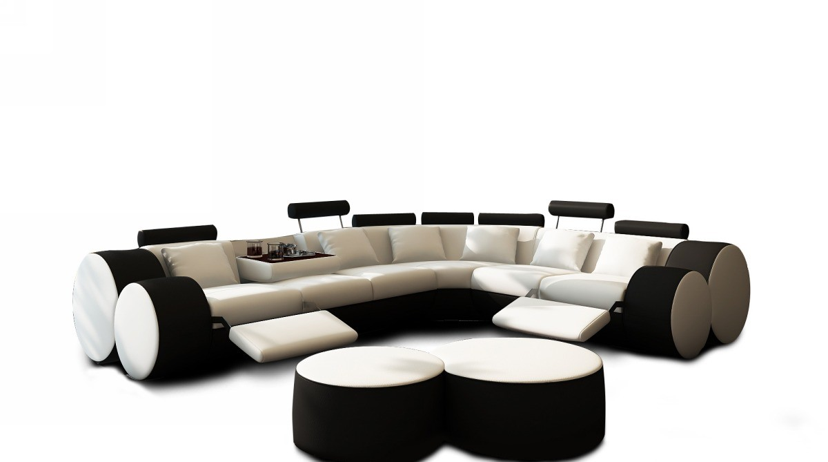 black sofa white coffee table photo - 2
