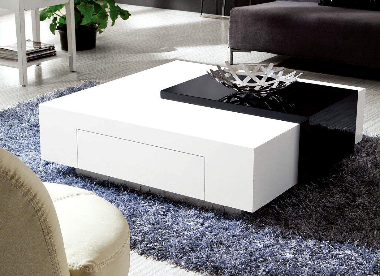 black sofa white coffee table photo - 6