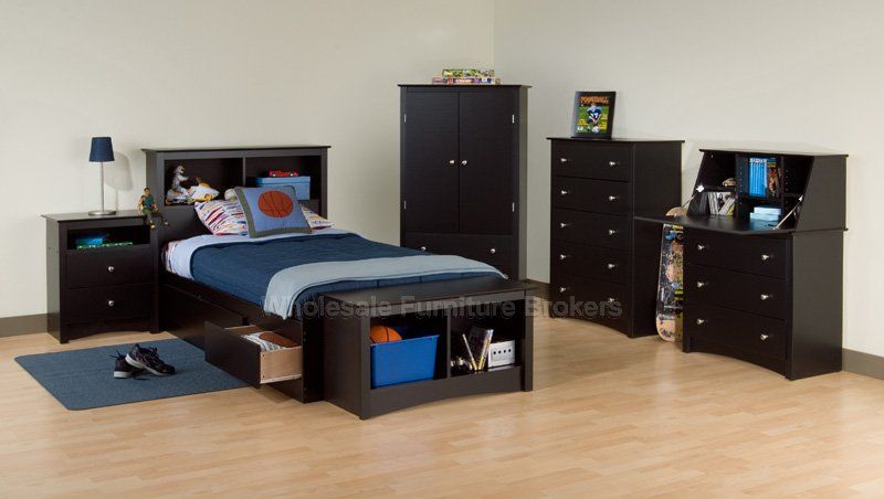 black twin bedroom furniture sets photo - 1