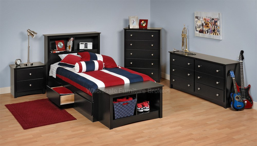 black twin bedroom furniture sets photo - 2