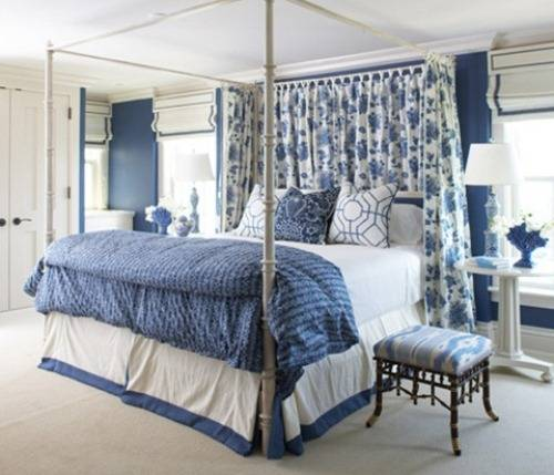 blue and white bedrooms designs photo - 2