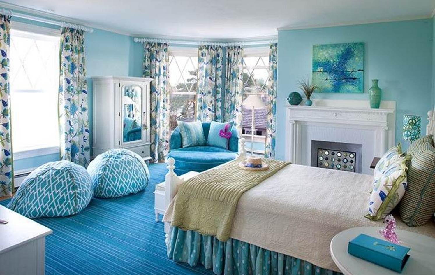 blue and white bedrooms for girls photo - 3