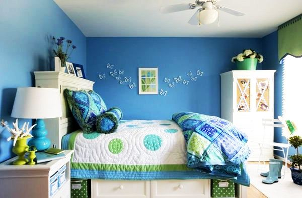 blue and white bedrooms for girls photo - 5