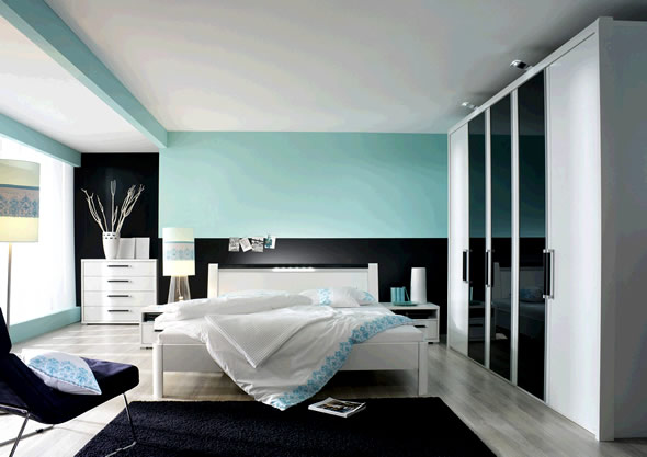 blue and white contemporary bedroom design photo - 2