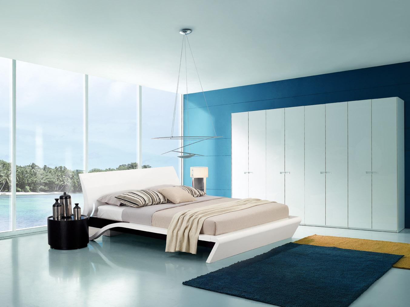 blue and white contemporary bedroom ideas photo - 2
