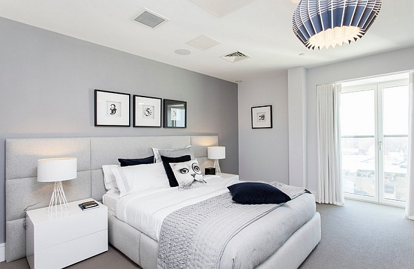 blue and white contemporary bedroom ideas photo - 6