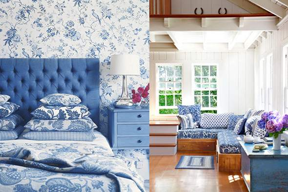 blue and white country bedrooms photo - 4