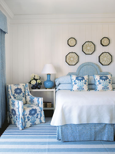 blue and white country bedrooms photo - 6