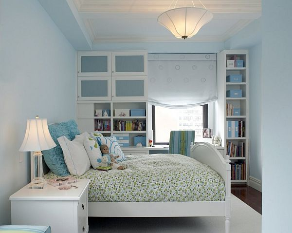 blue room with white furniture photo - 1