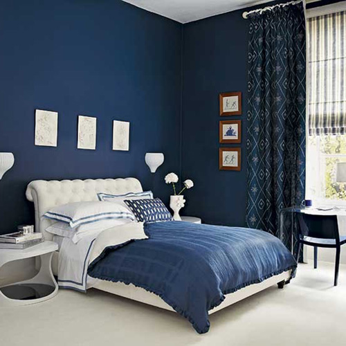 blue room with white furniture photo - 2