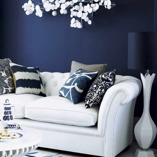 blue room with white furniture photo - 3