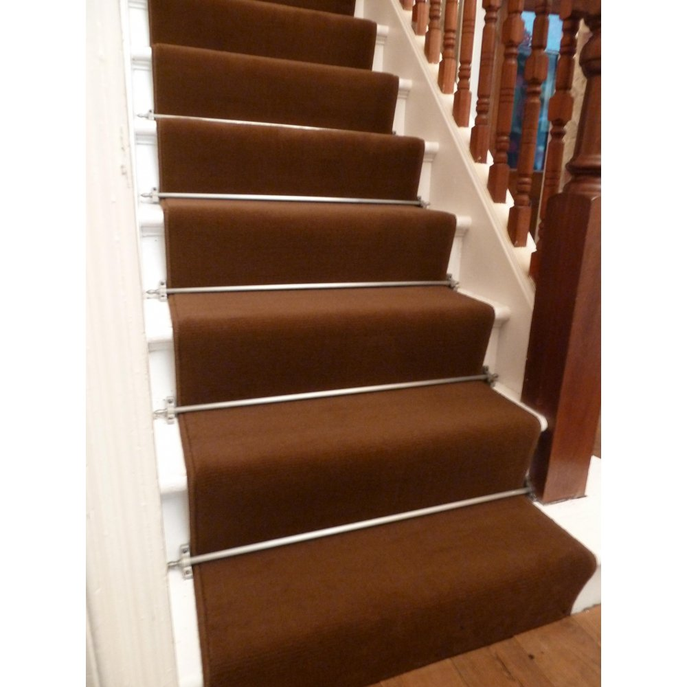 brown carpet runner for stairs photo - 1