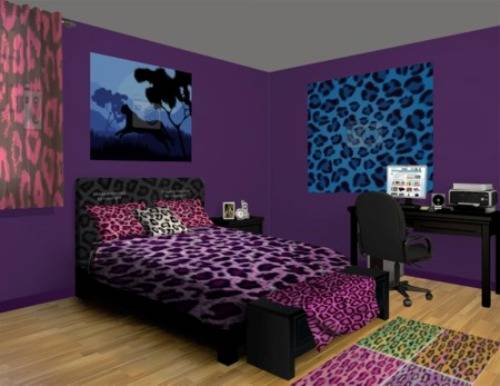 cheetah print and red bedroom photo - 1