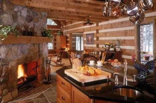 country kitchen fireplace design photo - 1