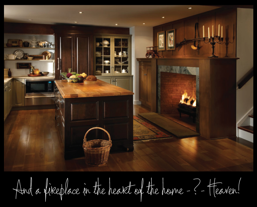 country kitchen fireplace design photo - 2