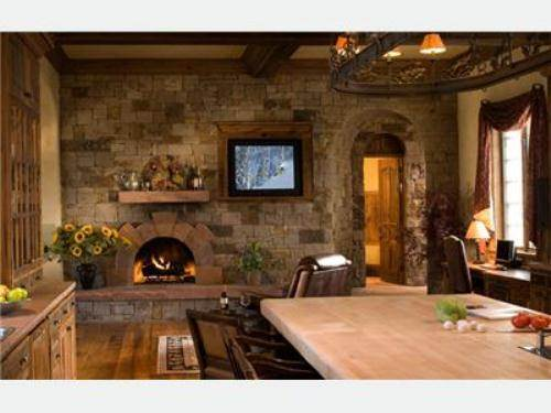 country kitchen fireplace design photo - 3