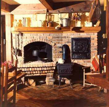 country kitchen fireplace design photo - 4