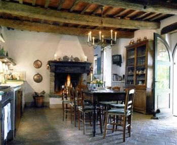 country kitchen fireplace design photo - 6