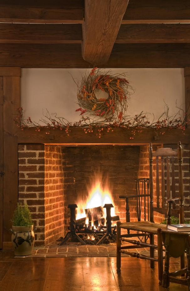 country kitchen fireplaces pictures photo - 2