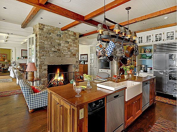 country kitchen fireplaces pictures photo - 4