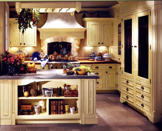 country style kitchen cabinets design photo - 3