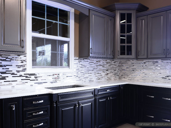 dark cabinets white backsplash photo - 4