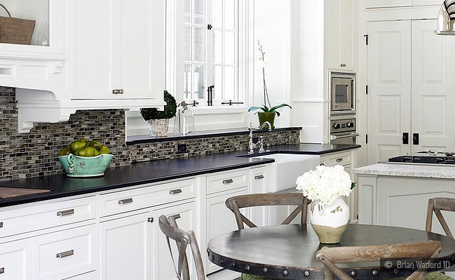 dark cabinets white backsplash photo - 5