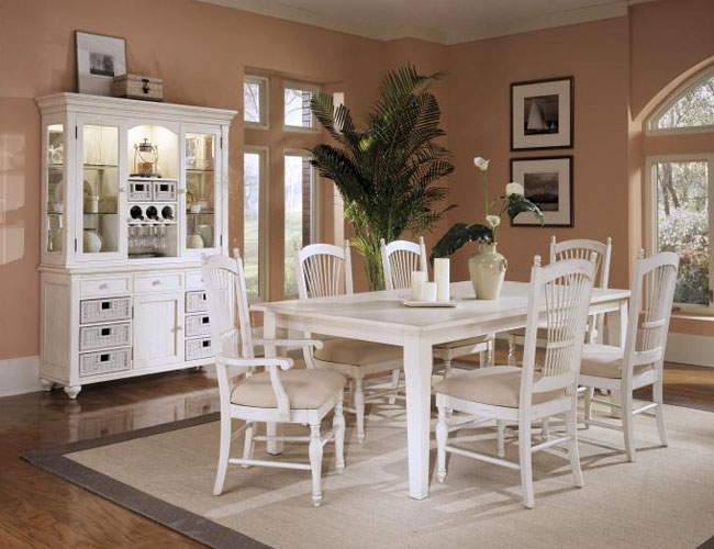 dining room with white furniture photo - 2