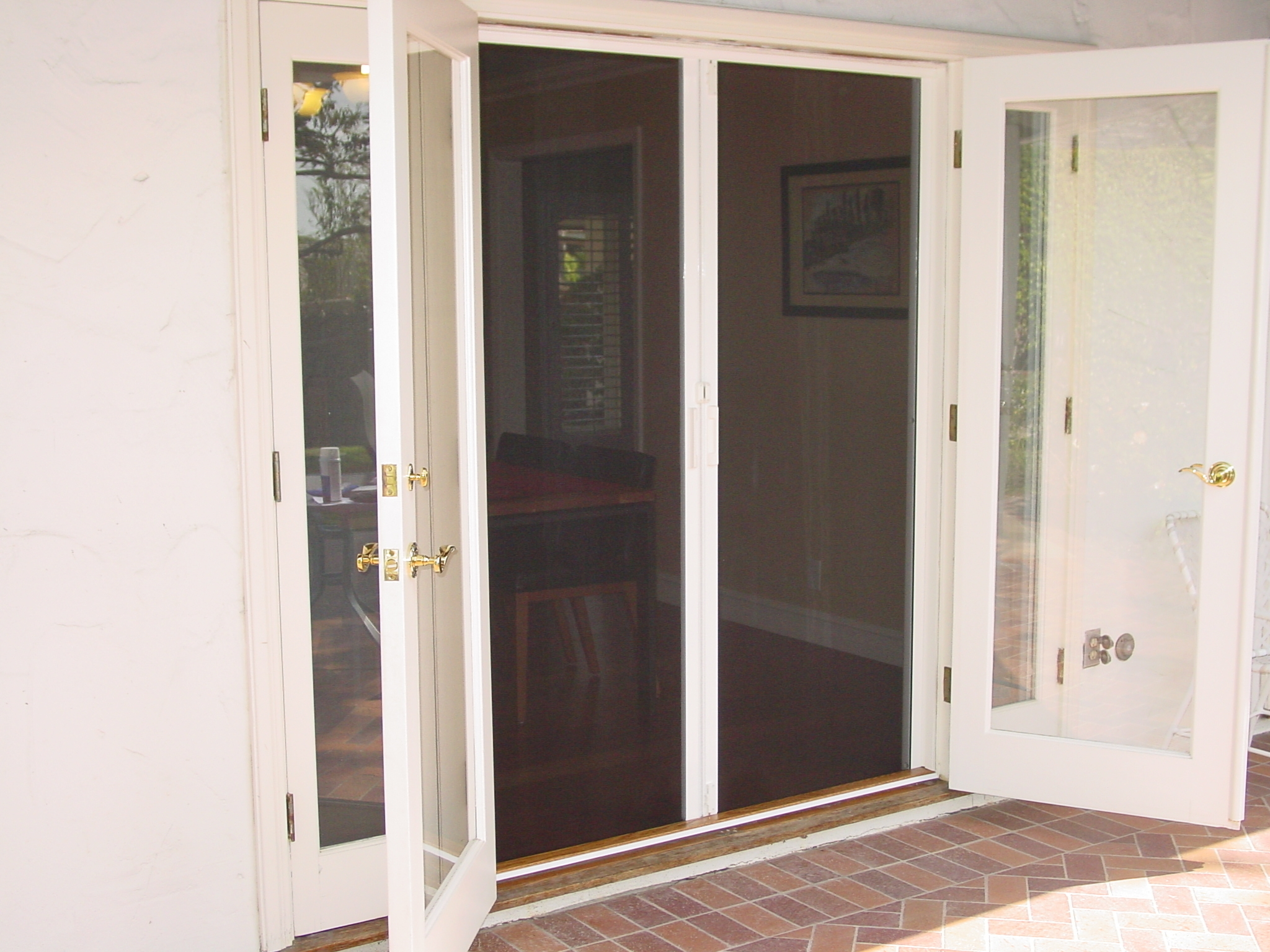 1536 #845D47 Double French Doors With Screens Interior & Exterior Doors save image Exterior Doors With Pet Door Built In 39172048