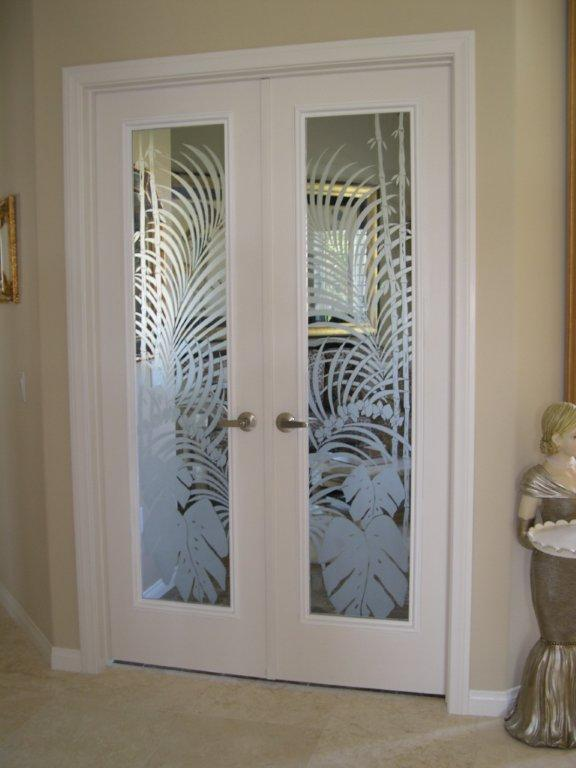 Etched doors for Interior glass french doors
