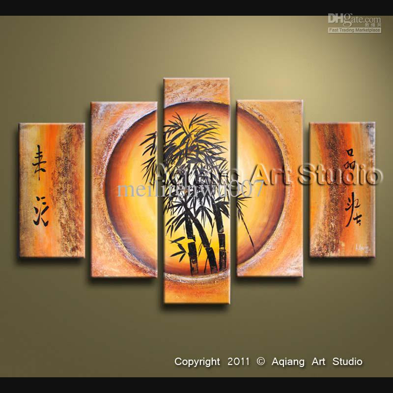 related images. zoom  2017 Bamboo Feng Shui Oil Painting Canvas Fortune  Decoration Home Office Wall ...