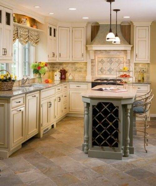 french country galley kitchen photo - 1