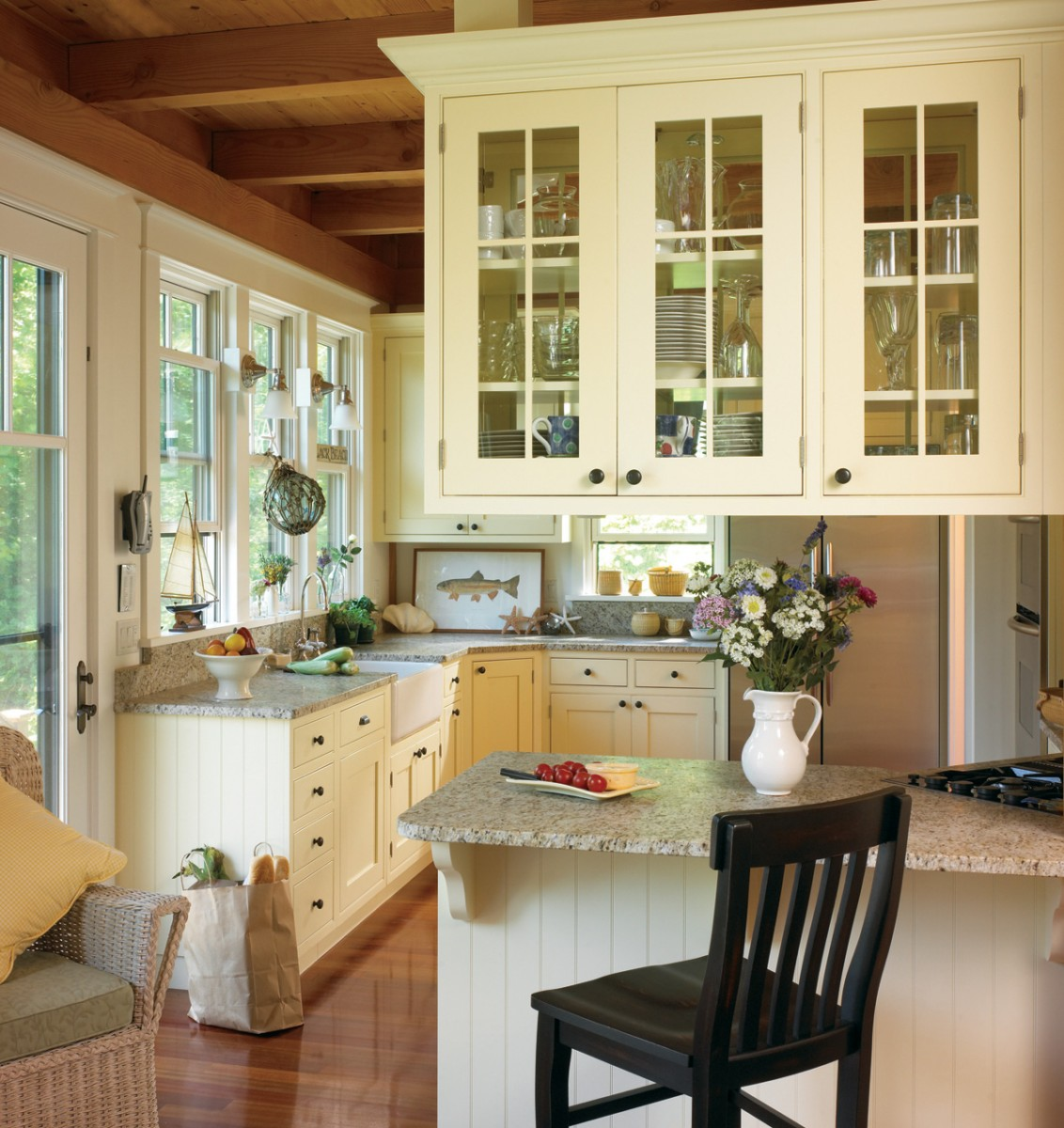 french country galley kitchen photo - 2