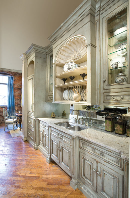 french country galley kitchen photo - 6