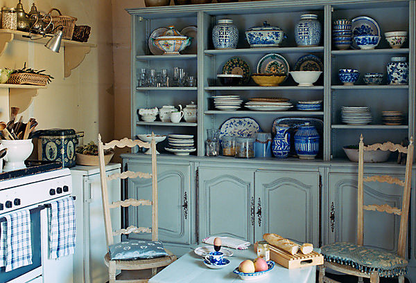 french country kitchen blue photo - 1