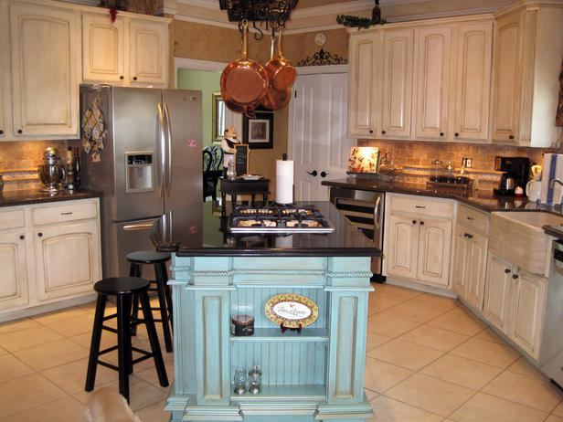 french country kitchen blue photo - 2