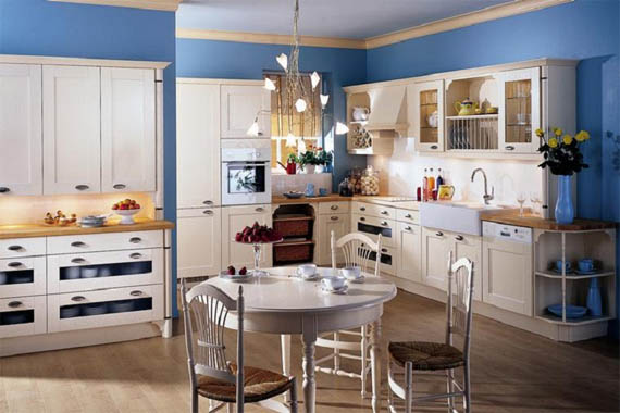 french country kitchen blue photo - 3