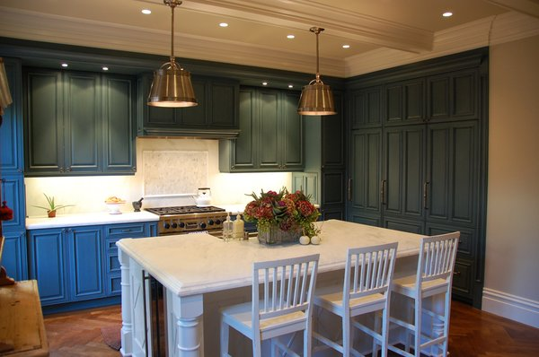 french country kitchen blue photo - 4