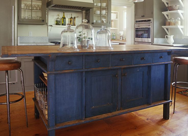 french country kitchen blue photo - 5