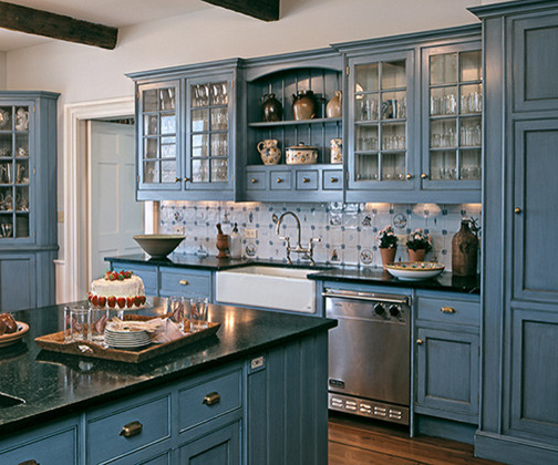 french country kitchen blue photo - 6