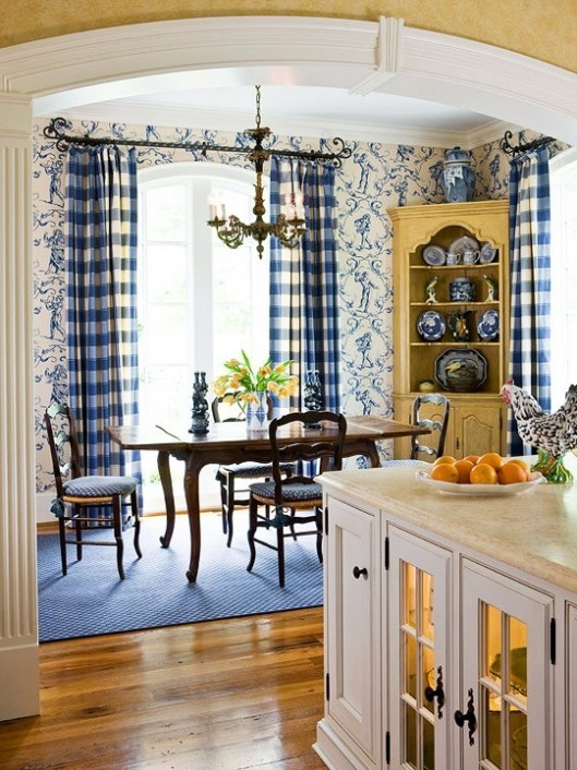 french country kitchen blue and yellow photo - 6
