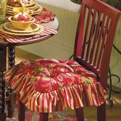 french country kitchen chair pads photo - 3
