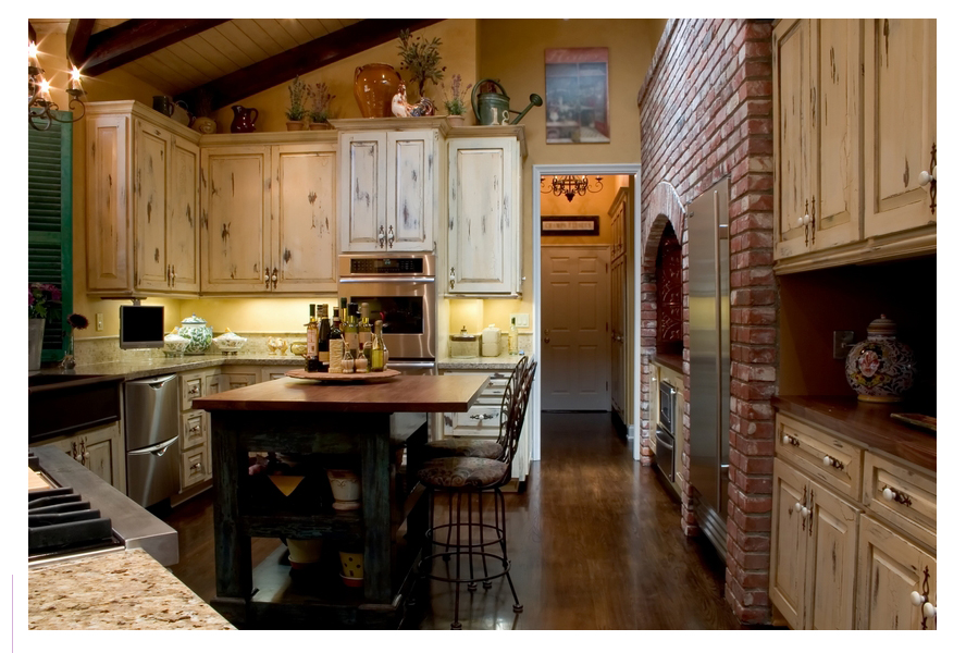 french country kitchen fireplace photo - 4