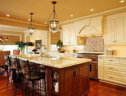 french country kitchen island lighting photo - 1