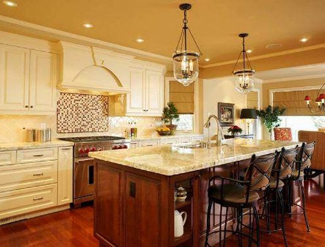 french country kitchen island lighting photo - 3