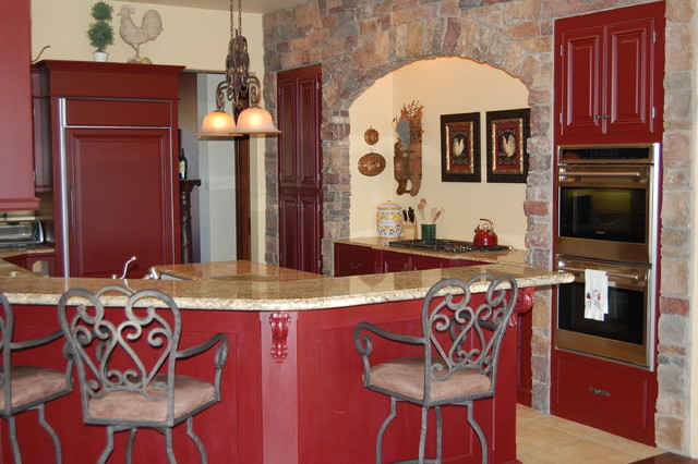 french country kitchen red photo - 1
